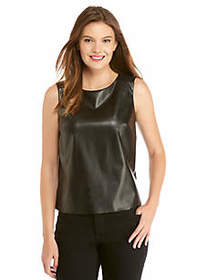 Sleeveless Pleather Ponte Top
