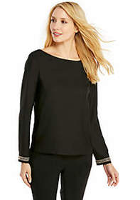 Crepe Deep U-Back Blouse