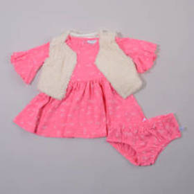 Baby Girl (0-9M) Rosie Pope 3pc. Faux Fur Vest and