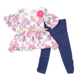 Toddler Girl Little Lass Floral lace Top & Legging
