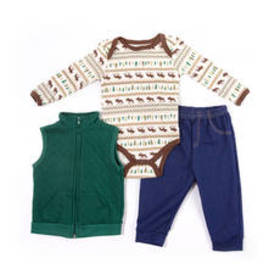 Baby Boy (3-9M) Buster Brown 3pc. Moose Quilted Ve