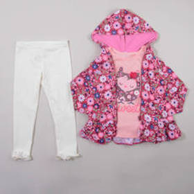 Toddler Girl Nannette 3pc. Floral Knit Hoodie & Le