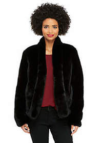Long Sleeve Kiss Front Faux Fur Jacket