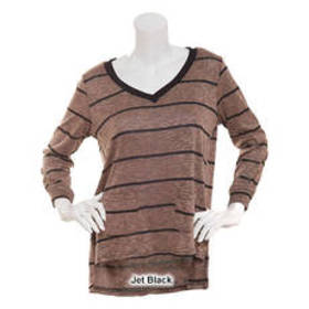 French Laundry Long Sleeve V-Neck Striped Top