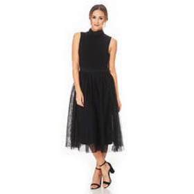 Sharagano Sleeveless Mock Neck Ballerina Skirt A-L