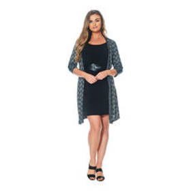 Connected Apparel Long Sleeve Print Belted Jacket