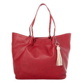 Bueno Initial Tassel Red Solid Tote