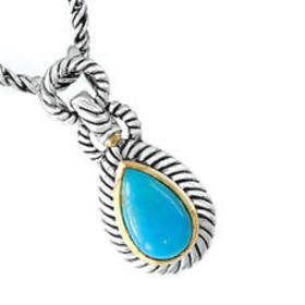 Womens EFFY Sterling Silver Turquoise Pear Shape P