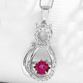 Womens Gemstone Classics™ Sterling & Ruby Cat Neck