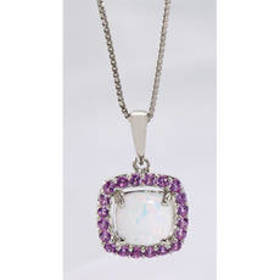 Womens Gemstone Classics™ Silver Created Opal Neck