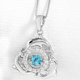 Sterling Silver Blue Topaz/White Sapphire Dolphin
