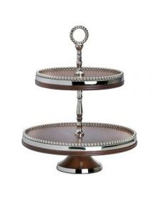 Wooden 2 Tier Server with Beaded Rim