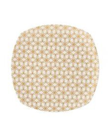 Geometric Gold Square Platter