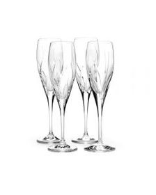 Set of 4 Crystal Champagne Flutes