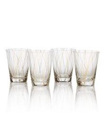 Set of 4 Lines Gold Double Old Fashioned Glasses