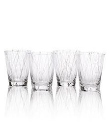 Set of 4 Lines Platinum Double Old Fashioned Glass