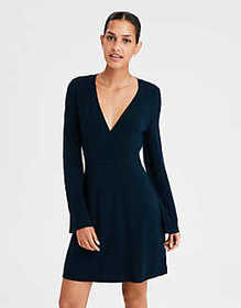 AE Wrap Front Sweater Dress