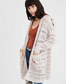 Pointelle Knit Hooded Cardigan