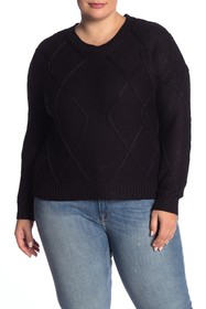 Modern Designer Cable Knit Pullover Sweater (Plus