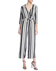 Striped Long-Sleeve Jumpsuit