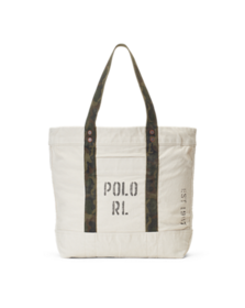 Faded-Text Canvas Tote Bag