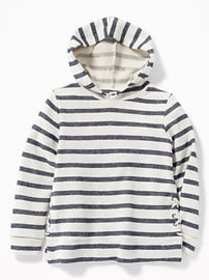 Striped French Terry Side-Lace Pullover Hoodie for