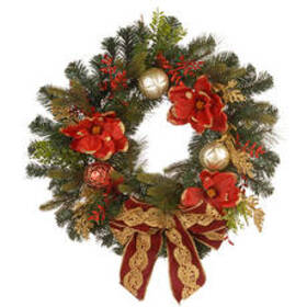 National Tree 24in. Decorative Wreath with Ornamen