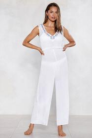 Life's a Beach Embroidered Cover-Up Jumpsuit