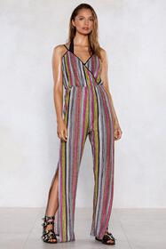 You're Doing Just Shine Striped Jumpsuit