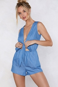 Oh No Knot My Baby Chambray Romper