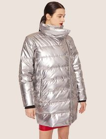 METALLIC ASYMMETRICAL PUFFER COAT