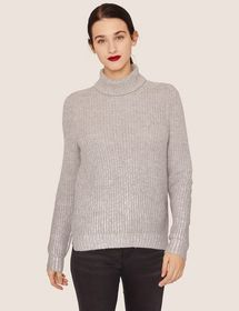 FOIL COATED WOOL-BLEND TURTLENECK