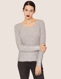 FOIL COATED WOOL-BLEND SCOOPNECK SWEATER