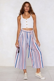 Mind Your Manners Striped Culottes