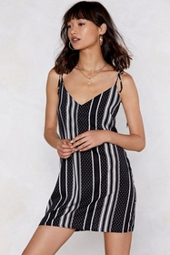 Opposites Attract Striped and Polka Dot Cami Dress