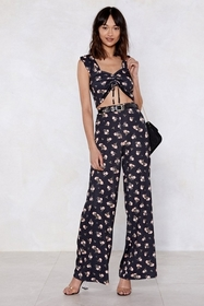 Secret Garden Floral Crop Top and Pants Set