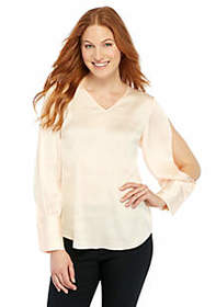 Split Sleeve V-Neck Blouse