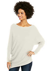 Asymmetrical Hem Ribbed Sweater