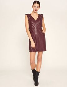 FAUX-LEATHER RUFFLED SHEATH DRESS