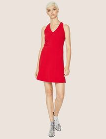 BUCKLED RACERBACK FIT-AND-FLARE DRESS