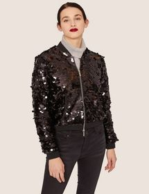 SHEER SEQUIN CROPPED BOMBER
