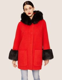 FAUX-FUR TRIMMED WOOL-BLEND COAT