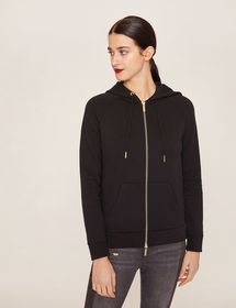 METALLIC HEM PRINT ZIP-UP HOODIE