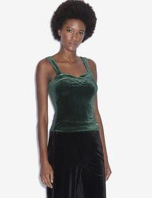 VELVET SWEETHEART NECKLINE TOP