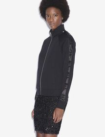 SEQUIN LOGO TAPE ZIP-UP FLEECE JACKET