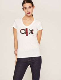 METALLIC STUD LOGO V-NECK