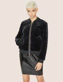 FAUX-SHEARLING BOMBER