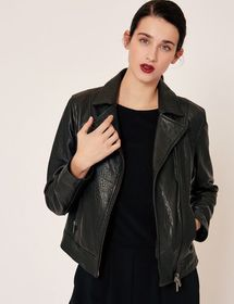 PEBBLED LEATHER MOTO JACKET