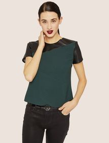 PANELED FAUX-LEATHER YOKE TEE