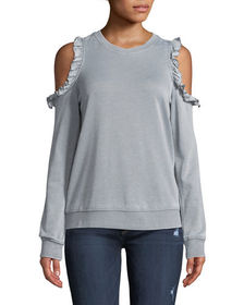 Cold-Shoulder Heathered Sweatshirt